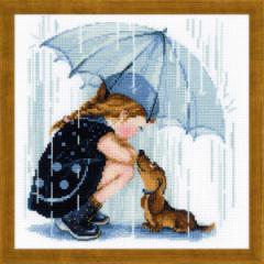 RIOLISクロスステッチ刺繍キット No.1720 「Under My Umbrella」 (僕の傘の中で 犬) 【海外取り寄せ/納期1〜2ヶ月】