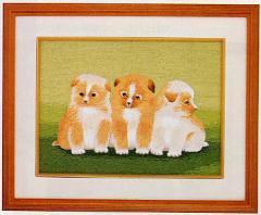 東京文化刺繍キット No.49「仔犬の兄弟」 【3号】 【動物】