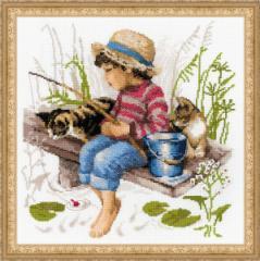 RIOLISクロスステッチ刺繍キット No.1470 「Lets go Fishing」 (釣りへ行こう 犬 猫) 【海外取り寄せ/納期30〜】