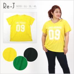 [LL.3L.4L]Tシャツ ナンバーロゴ 前後差 店内3,000円で送料無料 大きいサイズ レディース Re-J(リジェイ)
