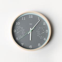 Lemnos レムノス TRiO [温湿度計付]/(PC10-22 GY)グレー 掛け時計 デザイナーズ 北欧 インテリア