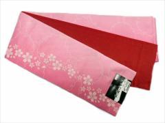 半幅帯 半巾 細帯 浴衣帯 四寸帯 リバーシブル四寸帯 日本製 ピンク地 ボカシ 小桜 柄 no3014