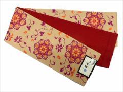半幅帯 半巾 細帯 浴衣帯 四寸帯 リバーシブル四寸帯 日本製 肌色地 裏鏡 柄 no2963