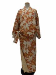 2018年 新作 RK キクチ リョウコ 丸洗いできる 着物 帯のいらない 着物 二部式 洗える二部式(袷) レンガ地 紅葉 柄 No.3021