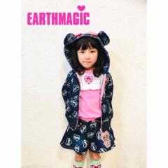 EARTHMAGIC アースマジック 子供服 18春 マフィー裏毛デニムリボン付きくま耳パーカー ea38132241