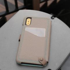 n.max.n Mystery Series for iPhoneX 本革縫製ケース 画面カバー(フラップ)有りタイプ 【AP-PHEX-7113】 グレージュ