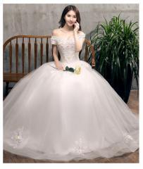 半袖 オフショルダー 豪華 ウェディングドレス 韓国風 ロングドレス パーティードレス ピアノ 結婚式 挙式 編み上げ