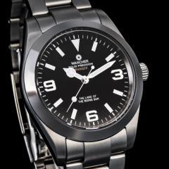 冒険者のための腕時計「WANCHER RANGER」ブラック 機械式手巻き自動巻き 316L無垢ステン ハック