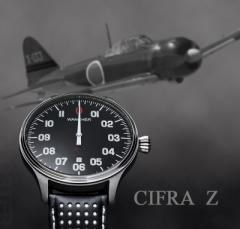 機械式自動巻き ワンハンドウォッチ 零戦コクピット計器1本針時計 WANCHER「Cifra Z」シフラゼット/ブラック(黒)