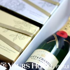 MCC-12-WCC12 モエ・エ・シャンドン200mlとシャンパン生チョコ12個入り1箱、ホワイトシャンパン生チョコ12個入り1箱セット