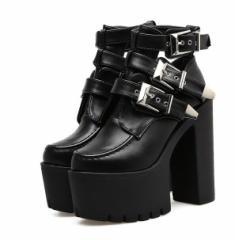 レディース上品質イギリス風ショートブーツ美脚着痩せ 厚底大人気15cm舞台宴会ショートブーツ 履きやすい厚底ブーツ1055