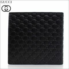あす着 グッチ GUCCI メンズ 財布 二つ折り財布 マイクロGG 型押し レザー 本革 ブラック 黒 アウトレット ブランド 150413-bmj1n-1000