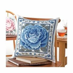 Olympusクロスステッチ刺繍キット6056 「ブルーローズ」 クッション40×40cm オリムパス オノエ・メグミの美しい花たち 薔薇 バラ ばら