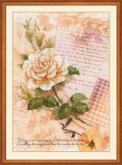 RIOLISクロスステッチ刺繍キット No.0035 PT 「Love Letters. Rose」  【プリント済みキット】 【海外取り寄せ/納期30〜60日程度】