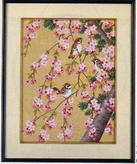 東京文化刺繍キット No.455 「桜とすゞめ」 【4号】 【花・植物】 【動物】 【花鳥】 雀 すずめ スズメ