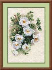 RIOLISクロスステッチ刺繍キット No.1351 「White Briar」 (白いブライアー) ロシアの刺しゅうメーカー「リオリス」製ししゅうキット