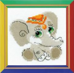 RIOLISクロスステッチ刺繍キット HB137 「Baby Elephant」 (赤ちゃん象 ゾウ)