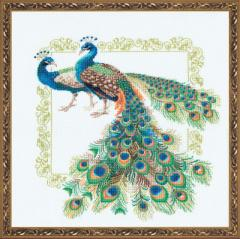 RIOLISクロスステッチ刺繍キット No.767 「Peacocks」 (孔雀 クジャク) 【海外取り寄せ/納期30〜60日程度】