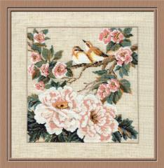 RIOLISクロスステッチ刺繍キット No.486 「Chinese Motives. Spring」 (中国風モチーフ 春)