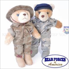 テディベア 海軍 空軍 警備隊 軍隊 約28cm BEAR FORCES OF America【くま ぬいぐるみ アメリカ プレゼント アーミー 熊】-06 =┃