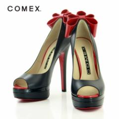 SF1711-002/  【送料無料】コメックス(COMEX) パンプス(バックリボンオープトゥパンプス)(5641)