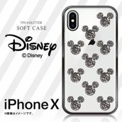 iPhone X ソフトケース 【3296】グリッター ディズニー ミッキー クリアケース シルエット アイコン 03 ブラック GCX ハセ・プロ