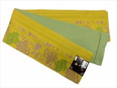 半幅帯 半巾 細帯 浴衣帯 四寸帯 リバーシブル四寸帯 日本製 カラシ地 菊 柄 no2958