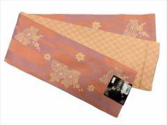 半幅帯 半巾 細帯 浴衣帯 四寸帯 リバーシブル四寸帯 日本製 サーモンピンク地 矢絣 小菊 柄 no3022