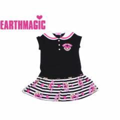 EARTHMAGIC アースマジック 子供服 18春 ボーダーマフィー柄セーラーワンピース  ea38134286
