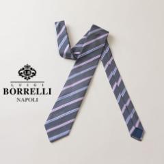 LUIGI BORRELLI ルイジ ボレッリ ネクタイ ストライプ柄 ブルーグレー系 シルク100%