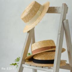 ストローカンカン帽 レディース 帽子 ハット カジュアル リゾート 紫外線 日焼け防止 麦わら 天然素材
