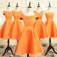 オレンジ色 パーティドレス ブライズメイド ミニドレス ワンピース チュールスカート 結婚式 二次会 発表会 全5タイプ D12