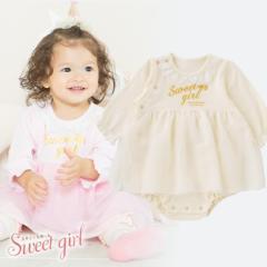 *スウィートガール*スカート付き長袖ロンパース[ベビー服][赤ちゃん][ベビー][ロンパース][女の子]【60cm7cm80cm】