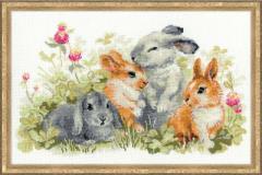 RIOLISクロスステッチ刺繍キット No.1416 「Funny Rabbits」 (うさぎ ウサギ 兎) 【海外取り寄せ/納期1〜2カ月】