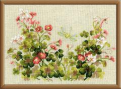 RIOLISクロスステッチ刺繍キット No.1187 「Oxalis & Dragonfly」 (カタバミとトンボ)