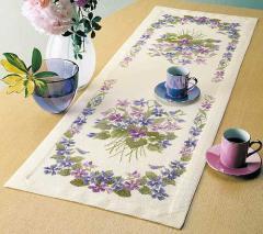 Olympusクロスステッチ刺繍キット1189 「スミレのテーブルセンター」