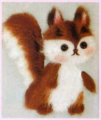 東京文化刺繍キット No.761 「こりす」  【1号】 【額付き】 【毛立】 【動物】 リス 栗鼠