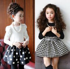 韓国風 ドレス 女の子 フォーマル 春秋 プリンセスドレス 女の子 ワンピース 子供 ワンピース 千鳥格子 水玉柄 ワンピース kids dress