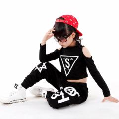 キッズ ヒップホップ ダンス衣装 子供用 男の子 女の子 Tシャツ HIPHOP ジャズダンス ストリート系 スウェット ステージ衣装 2点セット