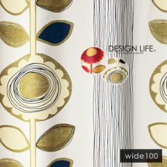 デザインライフ ドレープ サンフラワー カーテン W100 2級遮光 形状記憶 ウォッシャブル アイボリー ピンク ひまわり 花柄 スミノエ 日本