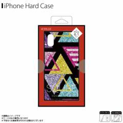 iPhone XR ハードケース J18M-SQ08【5468】スクエア型 背面ガラス キラキラ ラメ グリッター ブラック 文字 三角 藤本電業