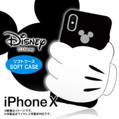 iPhone X ケース シリコンケース 【1964】ディズニーキャラクター ミッキーマウス ハンド 立体 01 ブラック SCX ハセ・プロ