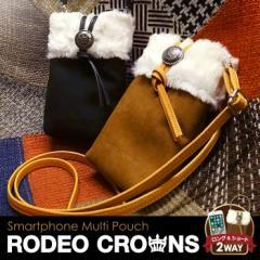 【RODEOCROWNS/ロデオクラウンズ】 「ムートンポーチ」 スマホ ミニバッグ 収納 クリア iPhone 全機種