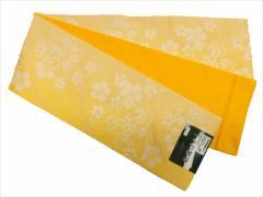 半幅帯 半巾 細帯 浴衣帯 四寸帯 リバーシブル四寸帯 日本製 黄色地 ボカシ 桜 柄 no3015