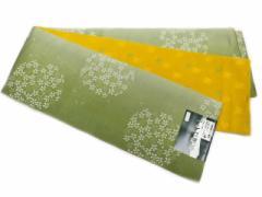 半幅帯 半巾 細帯 浴衣帯 四寸帯 リバーシブル四寸帯 日本製 抹茶地 花輪 柄 no3038
