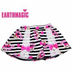 EARTHMAGIC アースマジック 子供服 18春 ボーダーマフィー柄パンツスカート  ea38153289