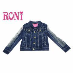 RONI ロニィ ロニー 子供服 18春 花モチーフチュール使いストレッチデニムGジャン r1381111601201