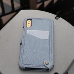 n.max.n Mystery Series for iPhoneX 本革縫製ケース 画面カバー(フラップ)有りタイプ 【AP-PHEX-7111】 クールグレー