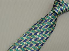 日本製 メガネ拭き付ネクタイ 洗濯機OK 緑×紺×金 矢羽根 FP KOJI YAMAMOTO メール便OK