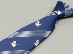 日本製 アニマル柄 犬 メガネ拭き付ネクタイ 青藍×銀 洗濯機OK FP KOJI YAMAMOTO メール便OK